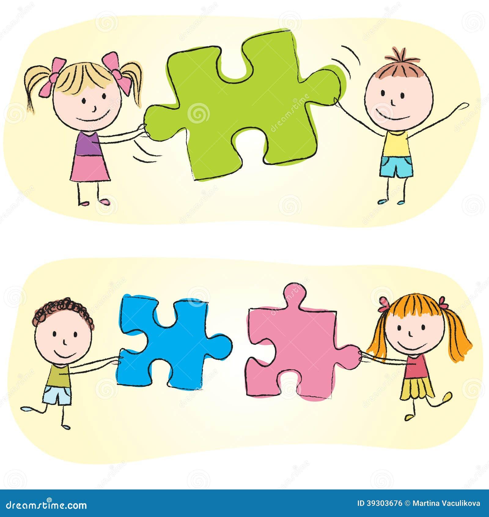 Enfants jouant avec le puzzle illustration de vecteur illustration du illustration enfance - Puzzle dessin ...