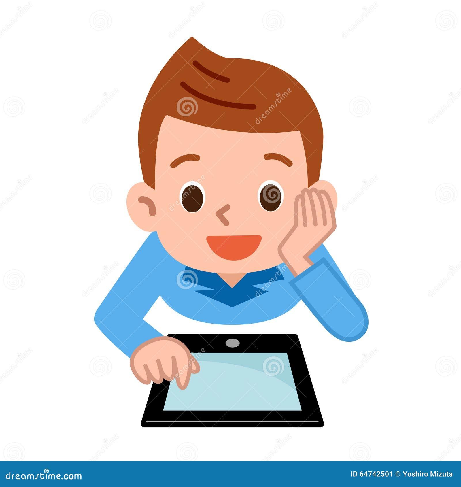 enfants jouant dans la tablette illustration de vecteur illustration du mignon gosse 64742501. Black Bedroom Furniture Sets. Home Design Ideas