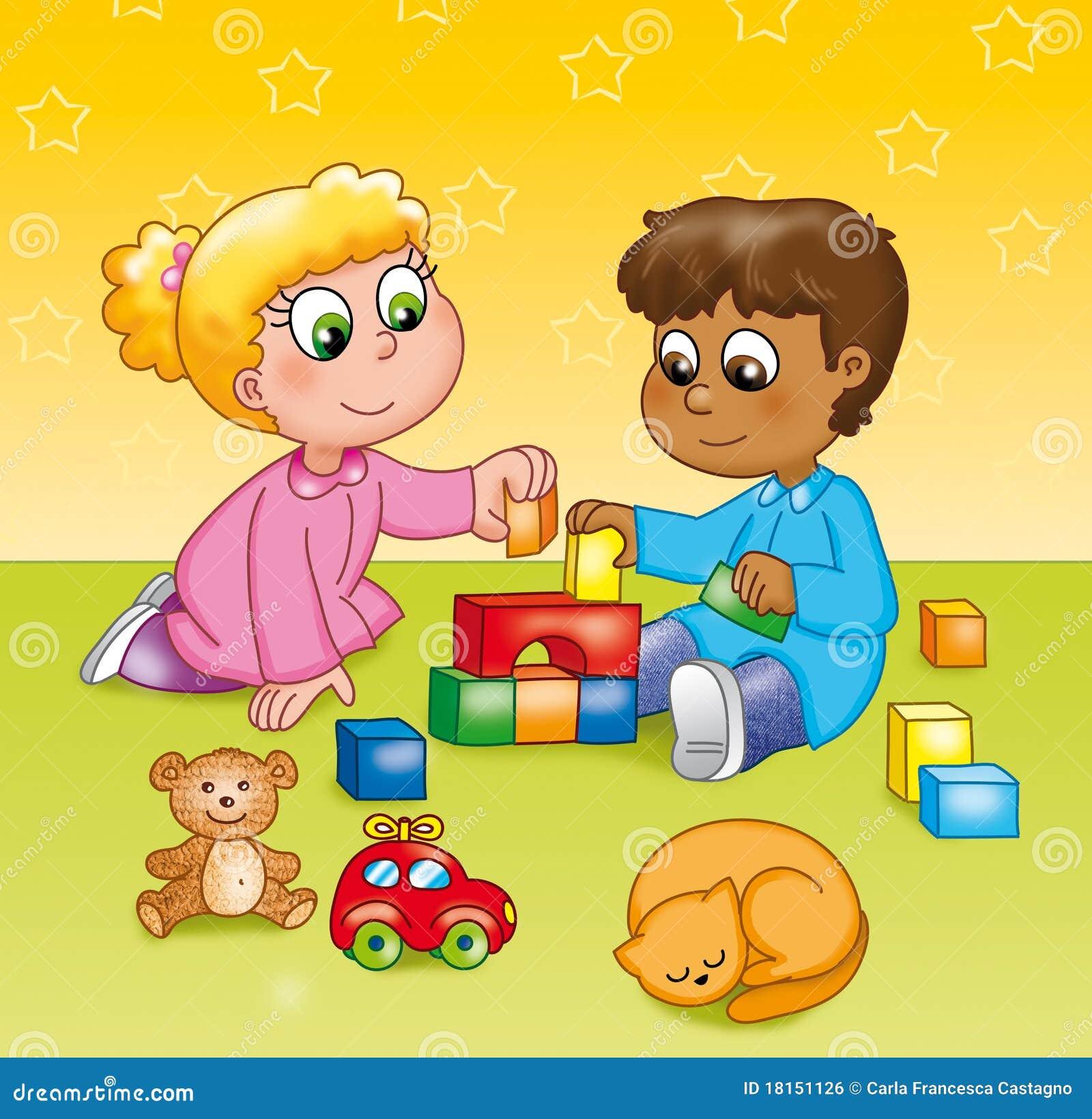 Enfants jouant dans un jardin d 39 enfants image libre de for Au jardin d enfant