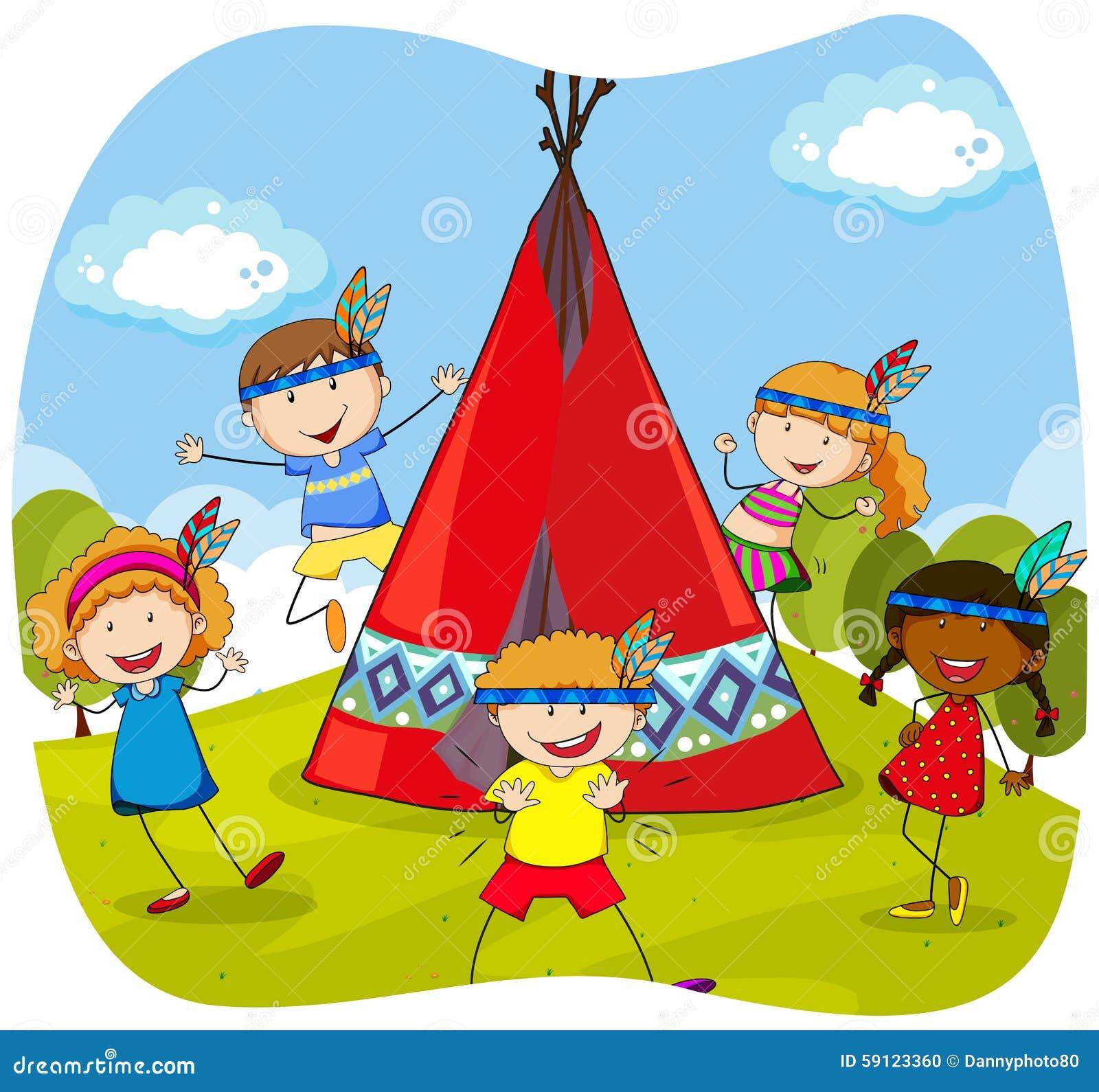 enfants jouant des indiens par le tipi illustration de vecteur illustration du filles tente. Black Bedroom Furniture Sets. Home Design Ideas