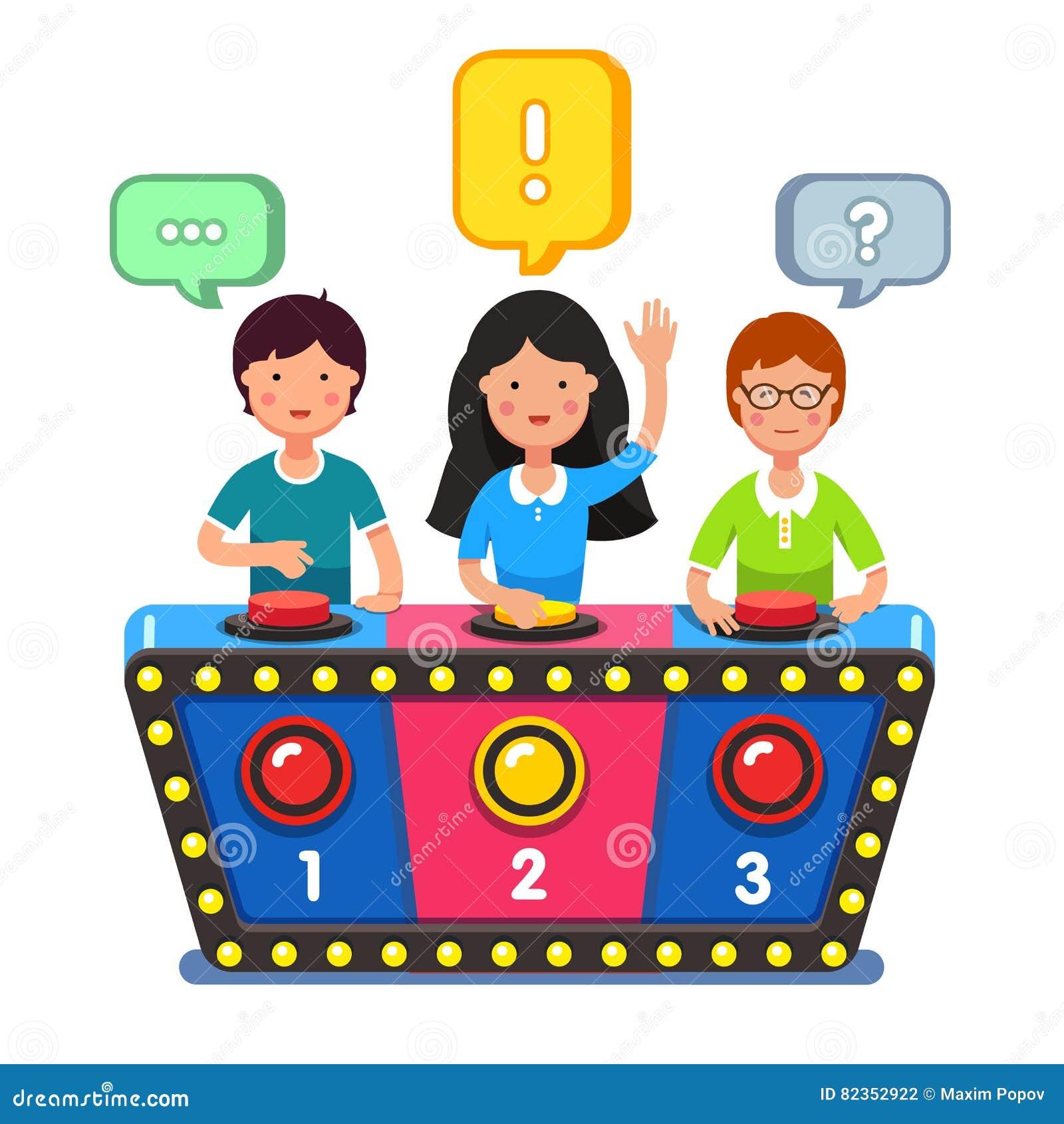 Enfants jouant des questions de réponse de jeu de jeu-concours