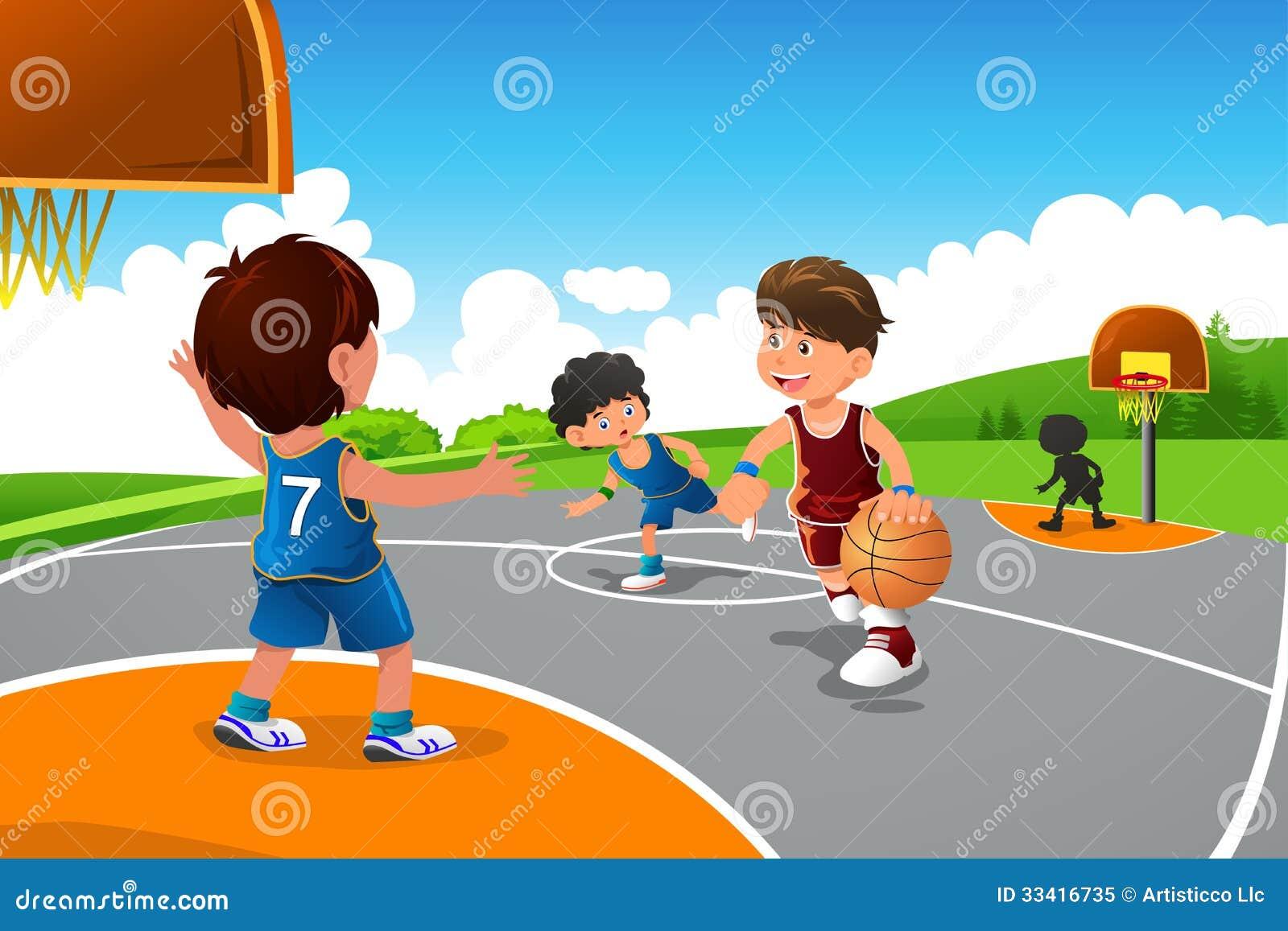 enfants jouant le basket ball dans un terrain de jeu illustration de vecteur illustration du. Black Bedroom Furniture Sets. Home Design Ideas