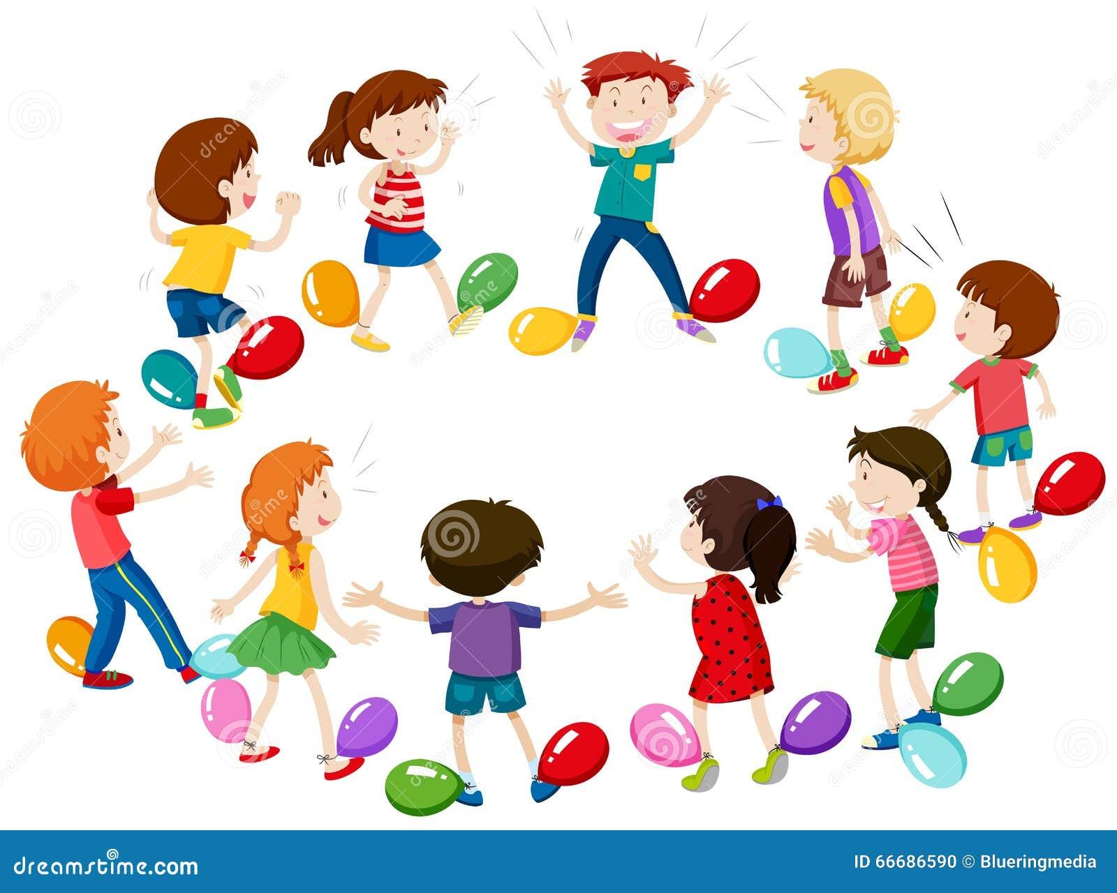 enfants jouant le jeu de sauter de ballon illustration de vecteur image 66686590. Black Bedroom Furniture Sets. Home Design Ideas