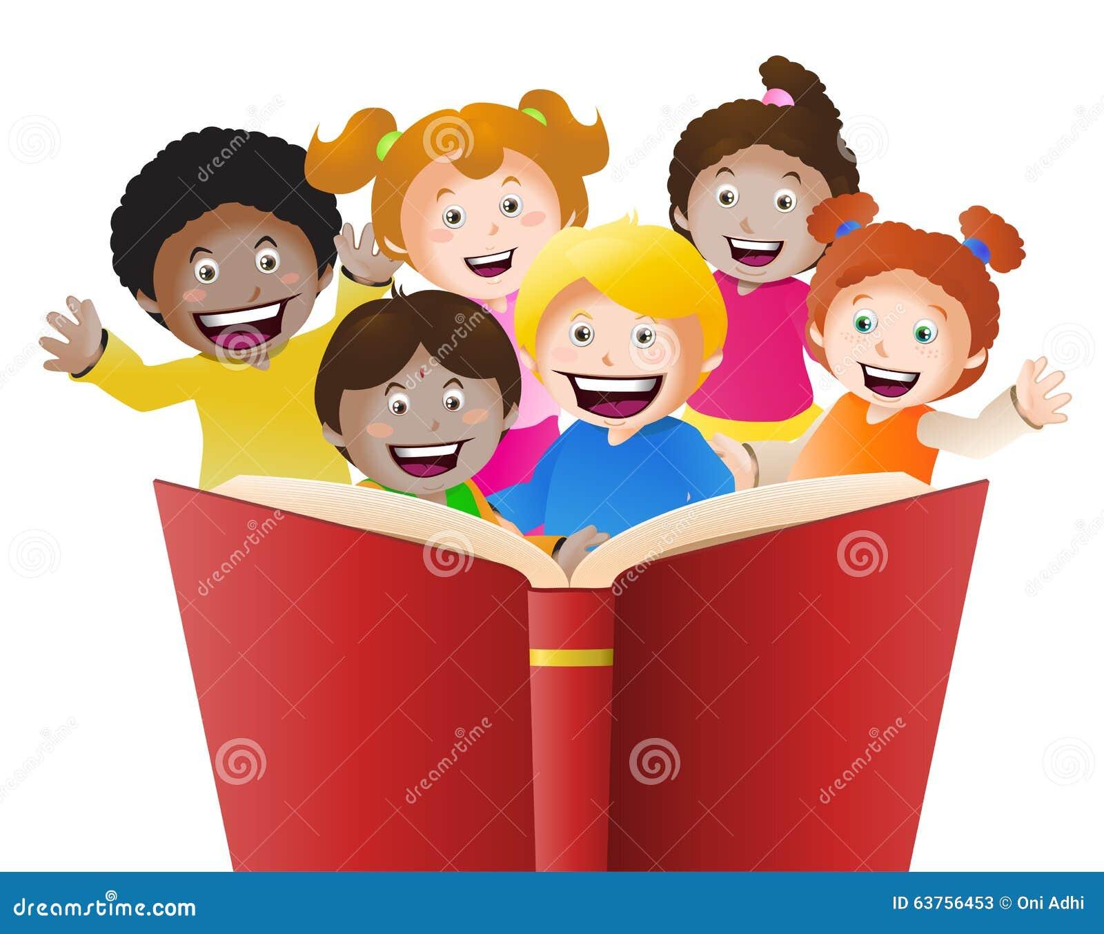 enfants lisant le grand livre illustration stock. Black Bedroom Furniture Sets. Home Design Ideas