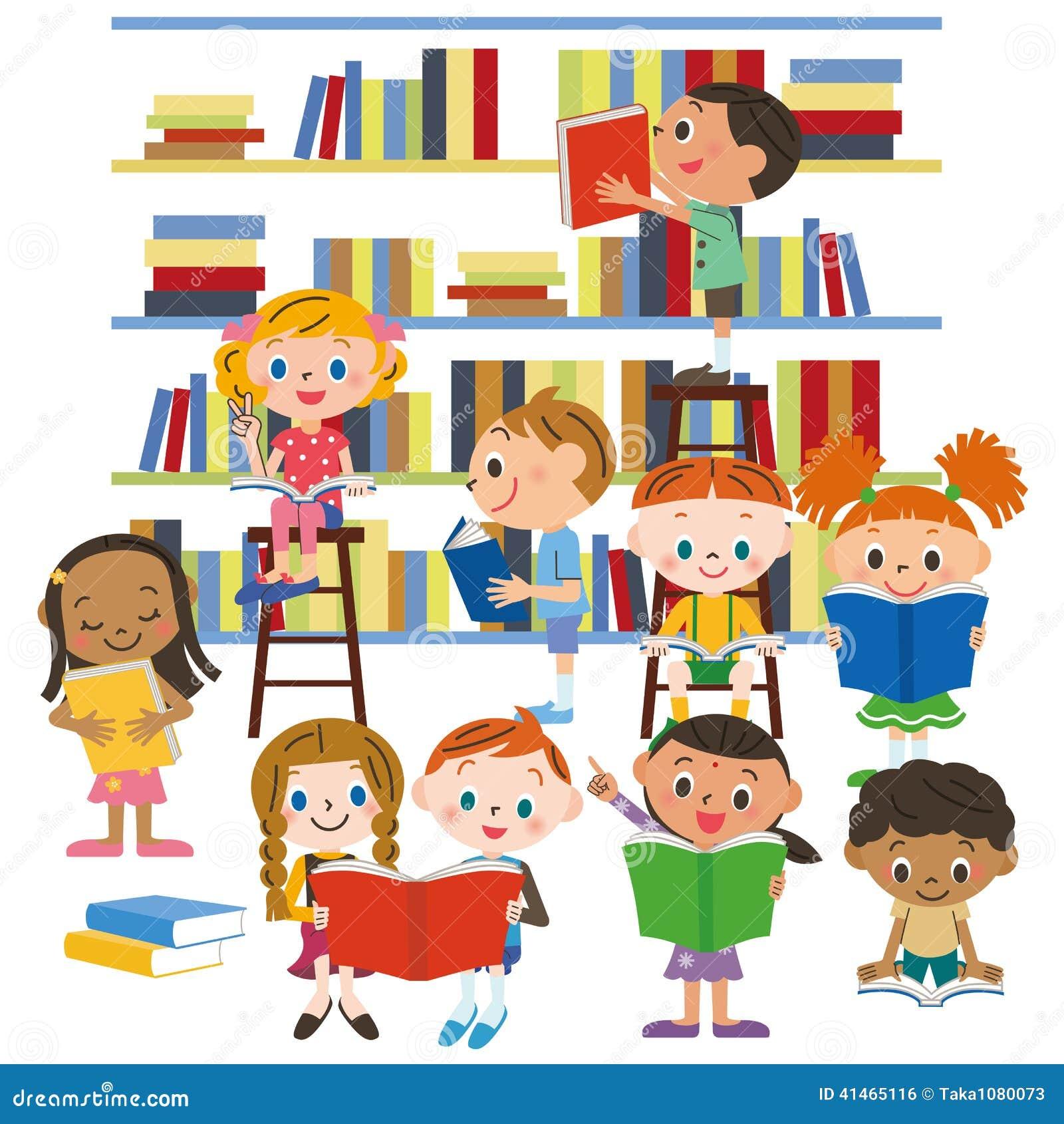 enfants lisant un livre dans une biblioth que illustration. Black Bedroom Furniture Sets. Home Design Ideas