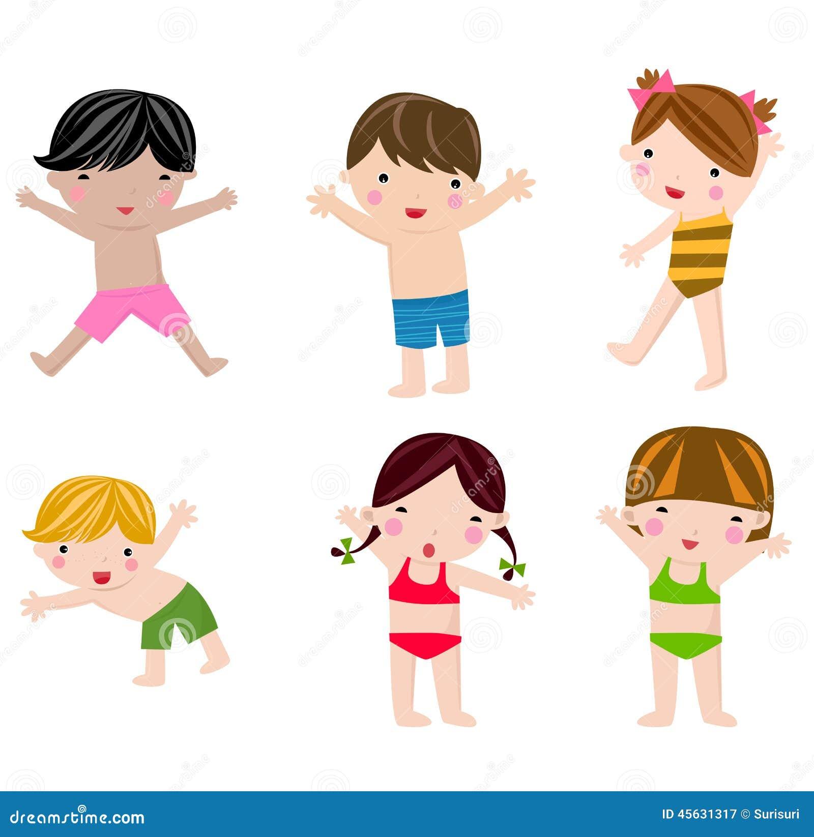 Enfants mignons d 39 t dans l 39 ensemble de maillot de bain illustration de vecteur illustration - Dessin de maillot de bain ...
