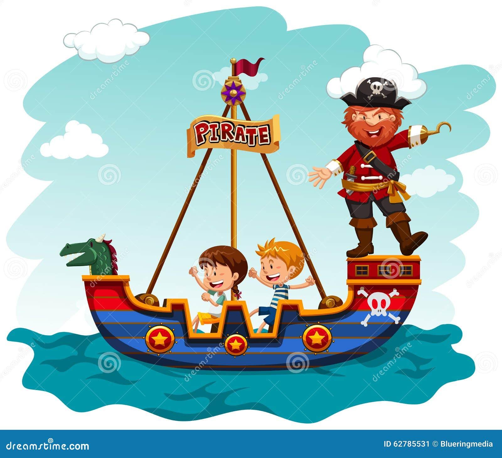 Enfants montant le bateau avec le pirate illustration de - Image bateau pirate ...
