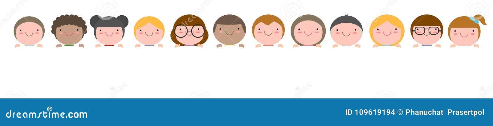 Enfants piaulant derrière la plaquette d isolement sur le fond blanc prêt pour votre texte, illustration de vecteur