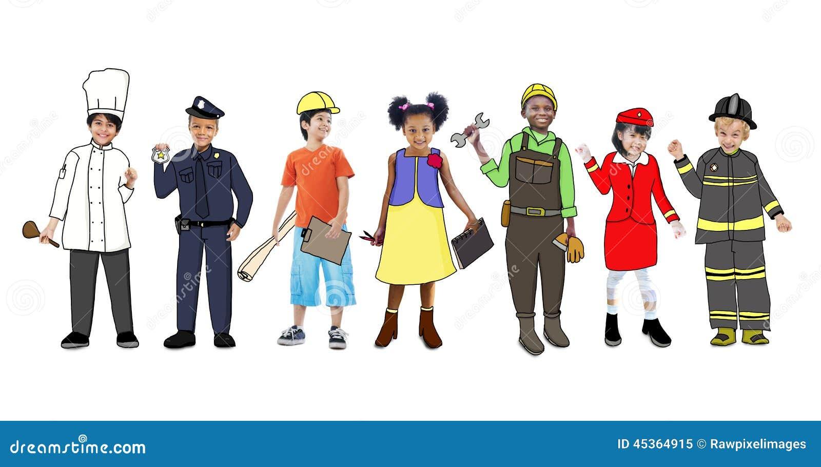 Enfants portant futur Job Uniforms
