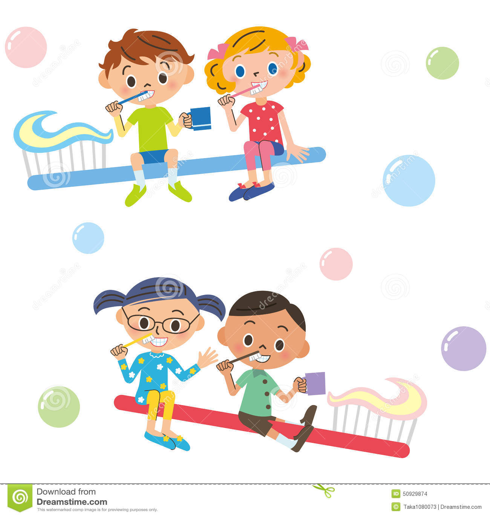 enfants qui ont obtenu sur la brosse dents illustration de vecteur image 50929874. Black Bedroom Furniture Sets. Home Design Ideas