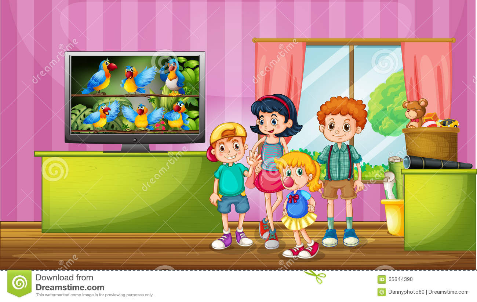 Enfants regardant la TV dans la chambre