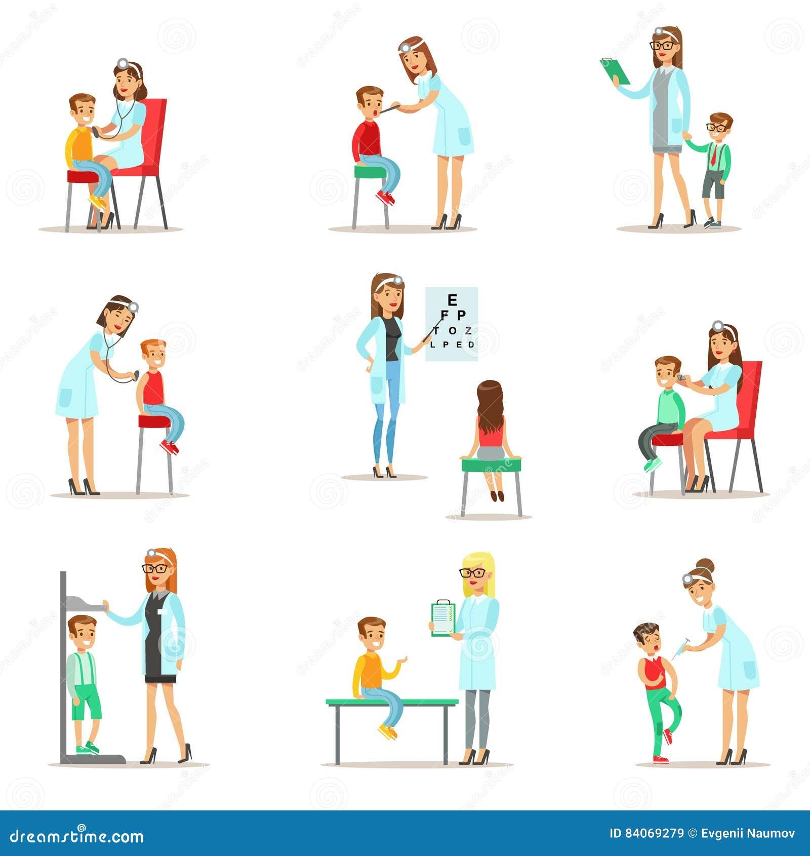 enfants sur la visite m dicale avec l 39 examen femelle de doctors doing physical de p diatre pour. Black Bedroom Furniture Sets. Home Design Ideas