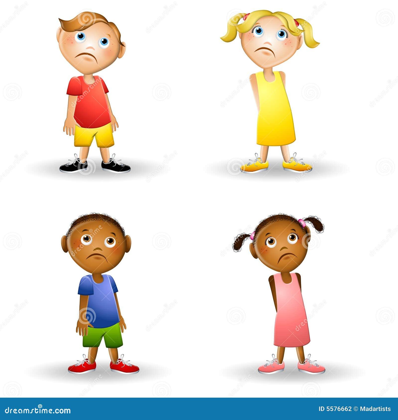 Enfants tristes de dessin anim photographie stock image for Photographie de stock