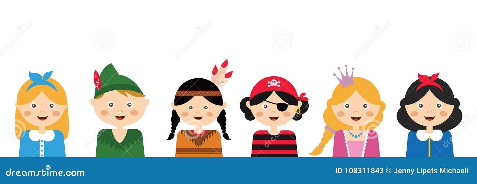 Enfants utilisant différents costumes calibre de bannière