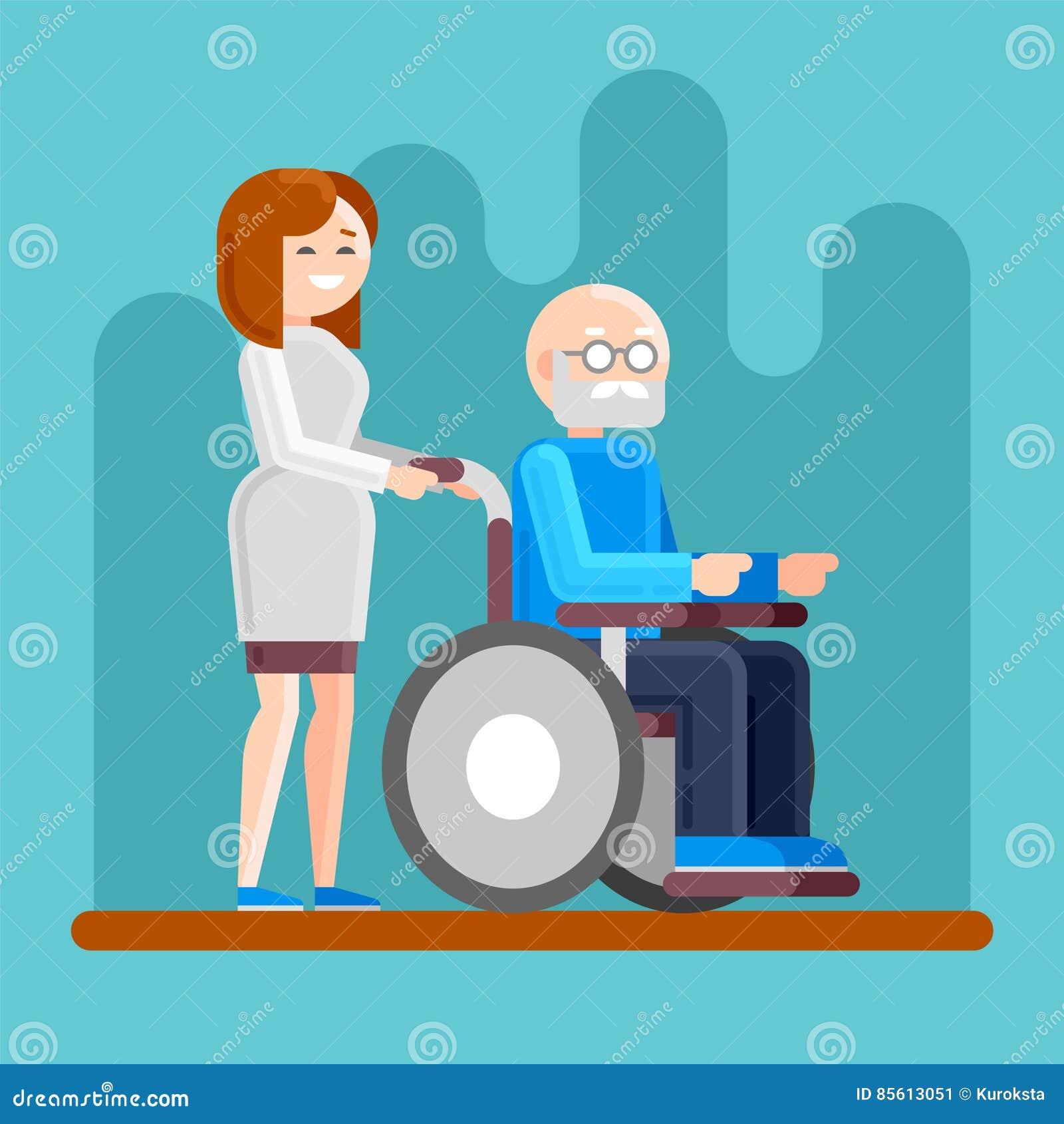 Enfermeira com ancião deficiente em uma cadeira de rodas