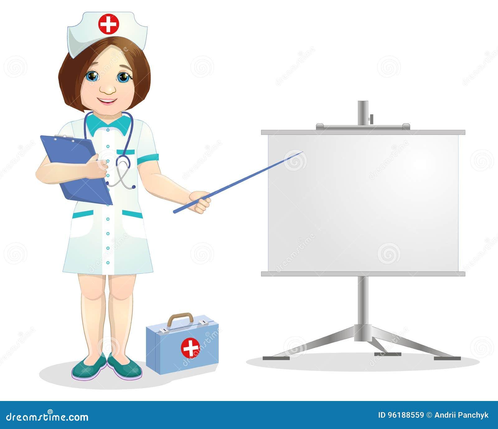Enfermeira consideravelmente de sorriso