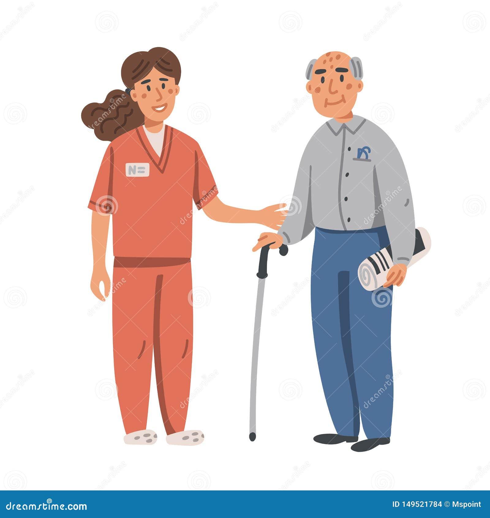 Enfermeira nova que ajuda e que apoia o homem idoso Mulher e anci?o de Yound no fundo branco Lar de idosos Povos superiores