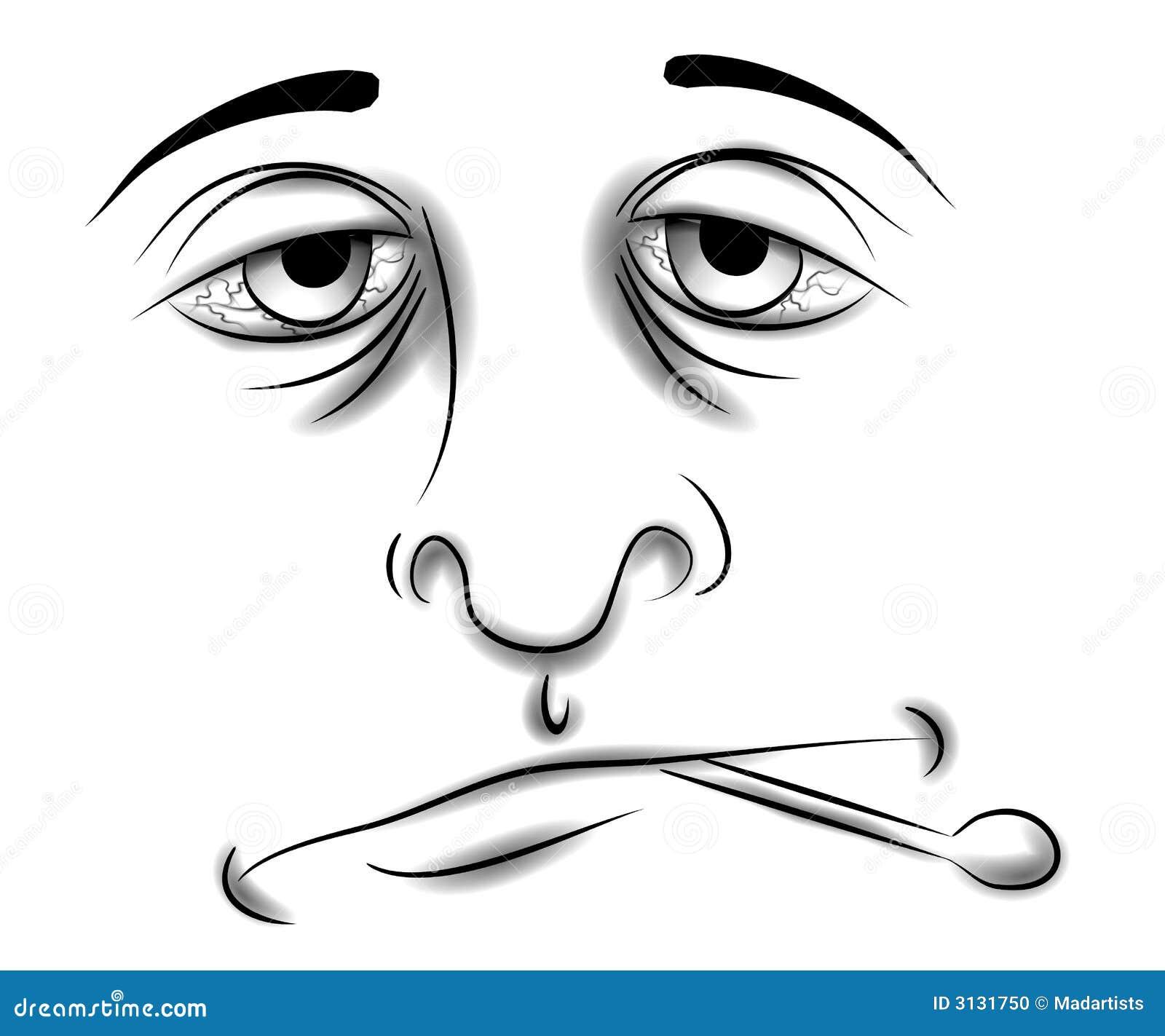 Sick Face Clip Art Black and White