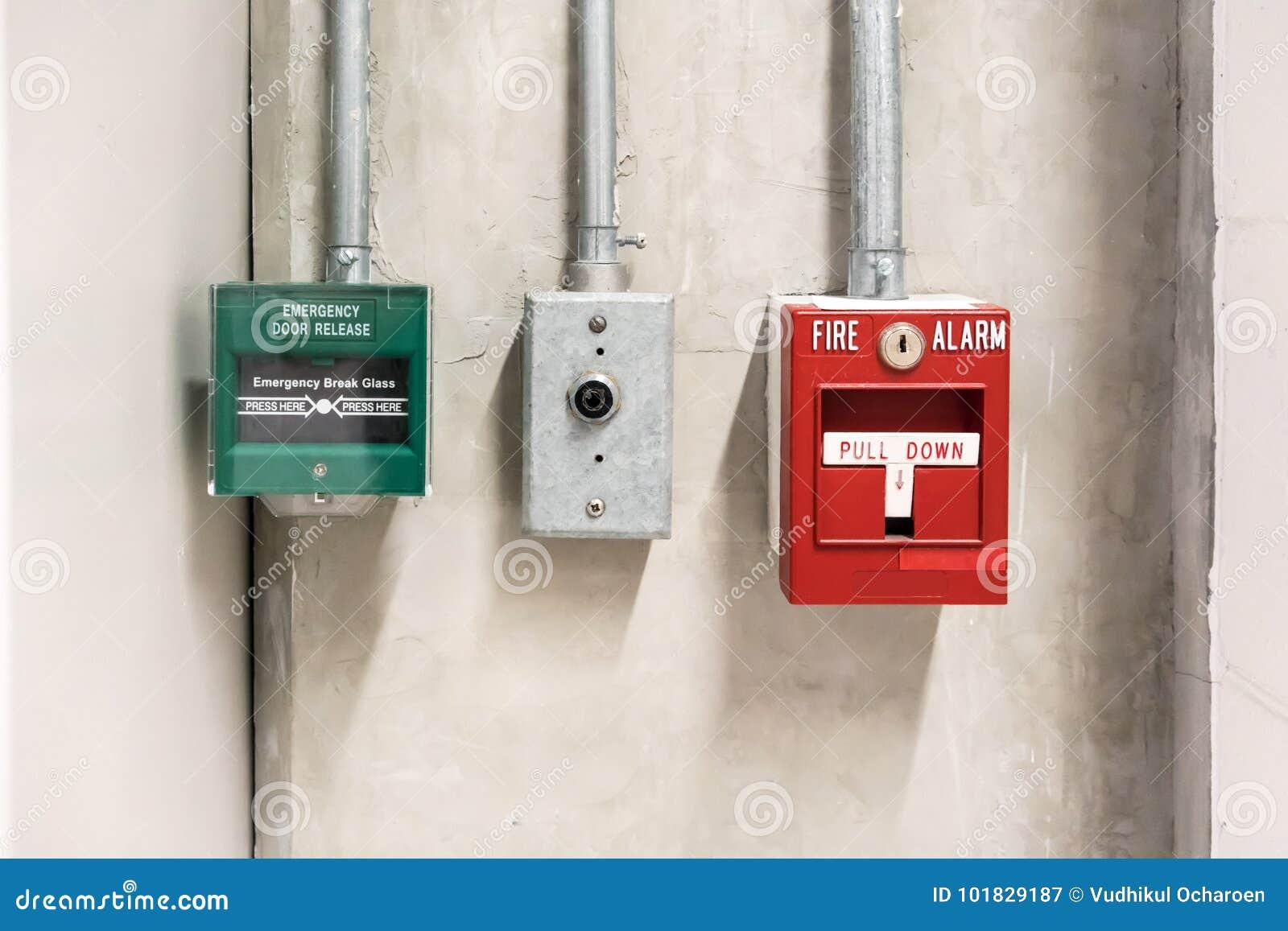 Enfoncez abaissent le commutateur en cas de feu et de commutateur de libération de porte de secours
