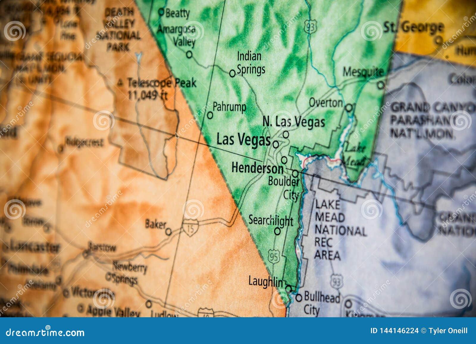 Enfoque Selectivo De Las Vegas Nevada En Un Mapa Geografico Y Politico De Estado De Los Estados Unidos Foto De Archivo Imagen De Selectivo Unidos 144146224