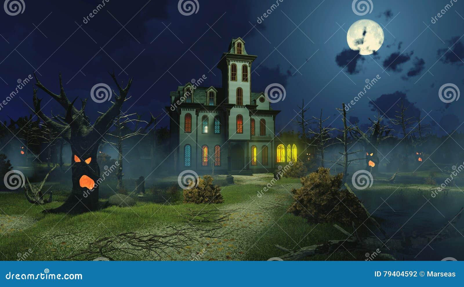 Eng herenhuis en griezelige bomen bij nacht