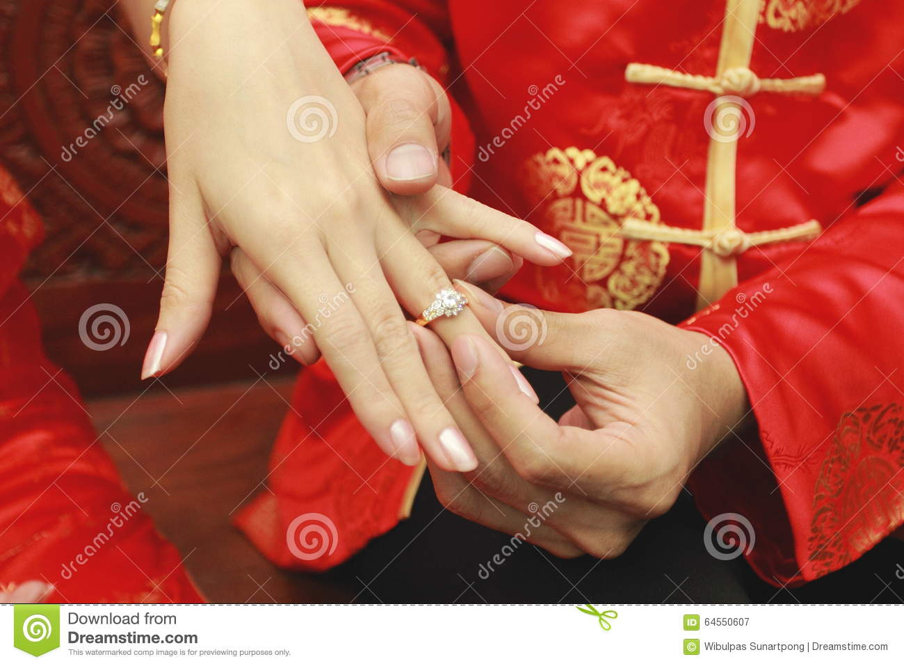 Stock Photo Engagement Ceremony Ring Close Up On Chinese Traditional