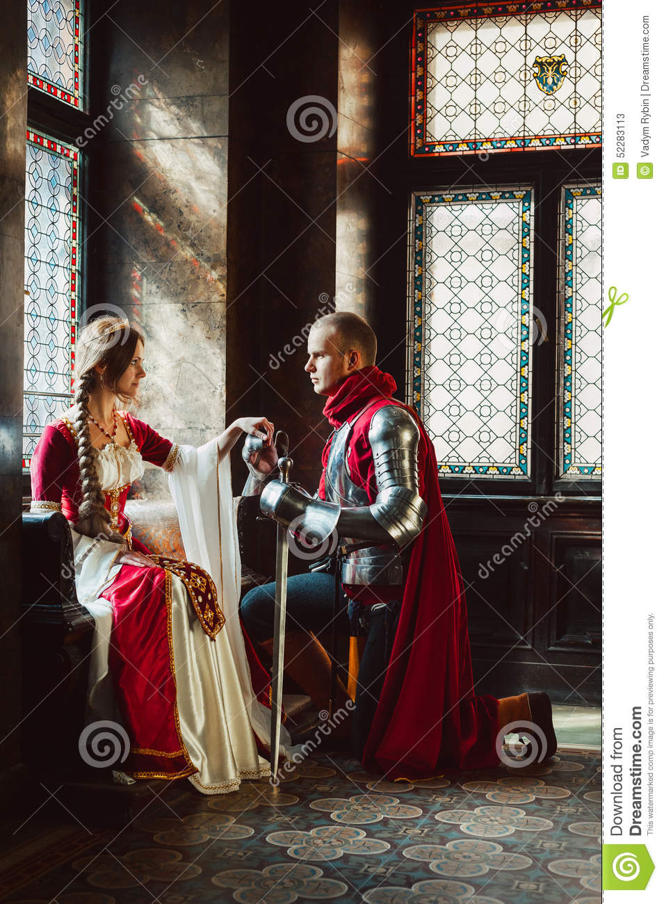 Engagement Of A Knight And Lady Stock Image