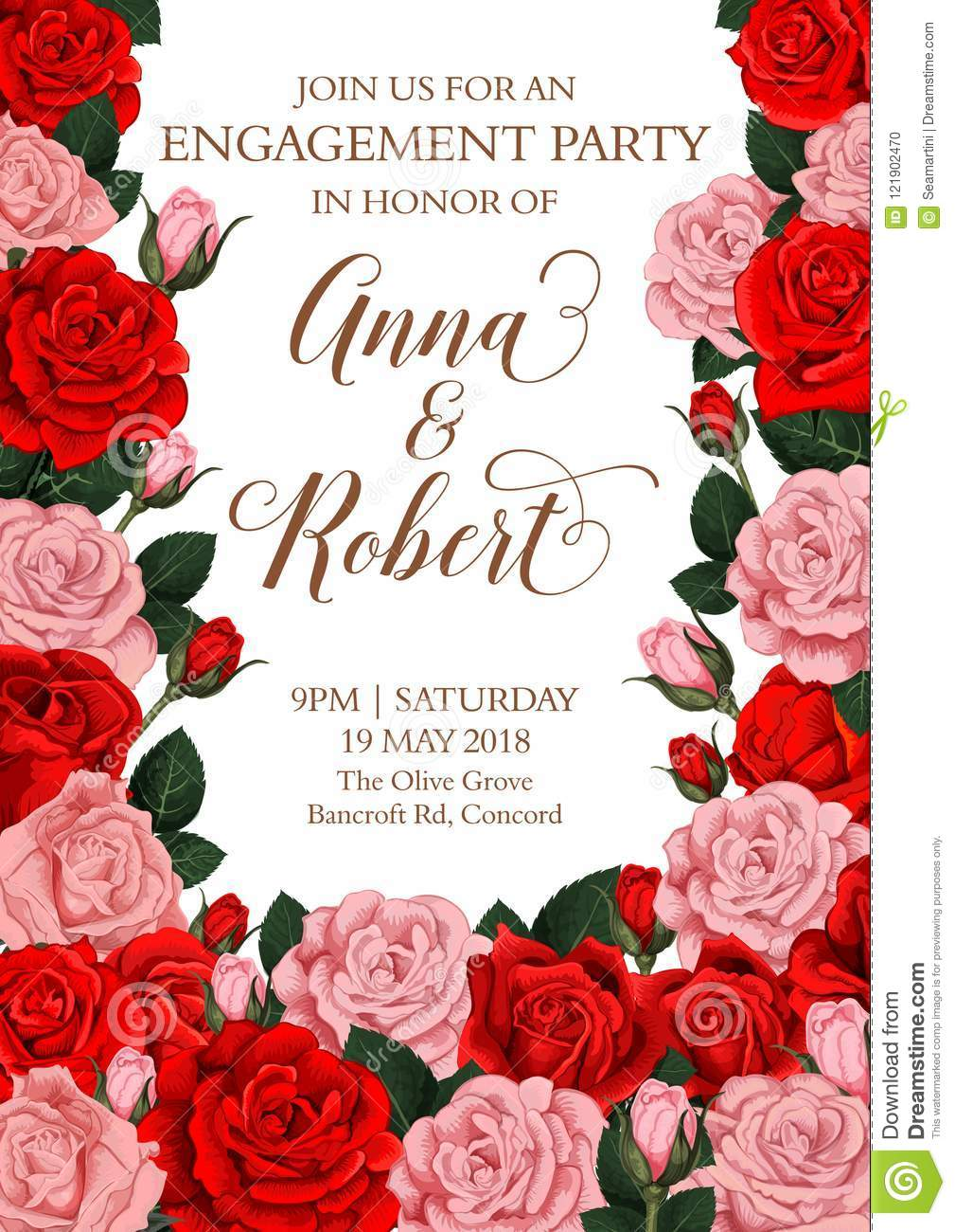 Vector Engagement Invitation Card Of Roses Flowers Stock Vector ...