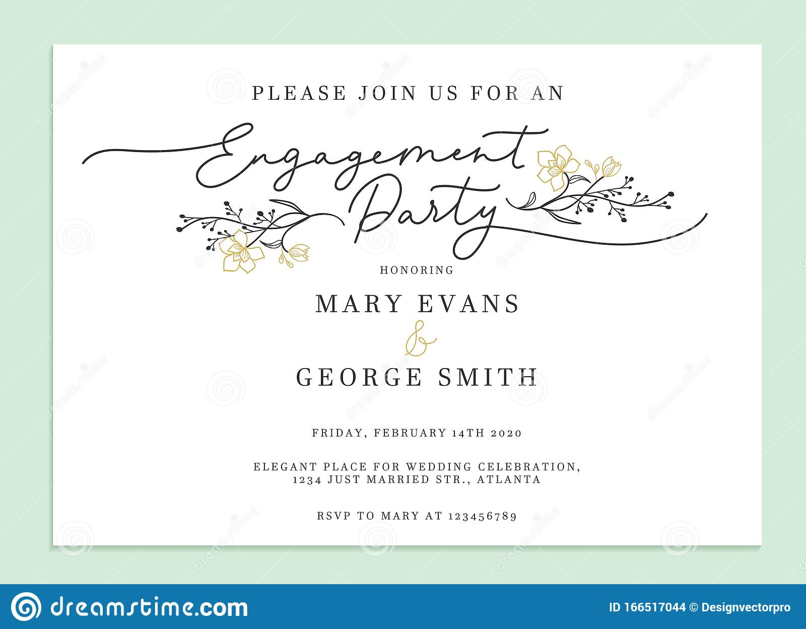Engagement Party Invitation Card Template Stock Vector