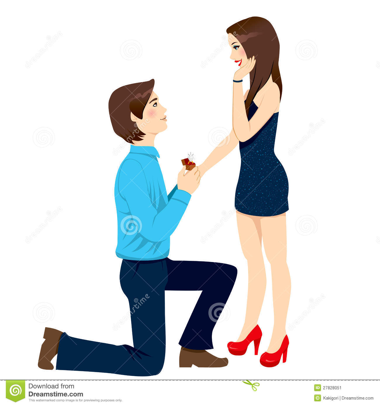 Engagement Proposal Surprise Stock Vector