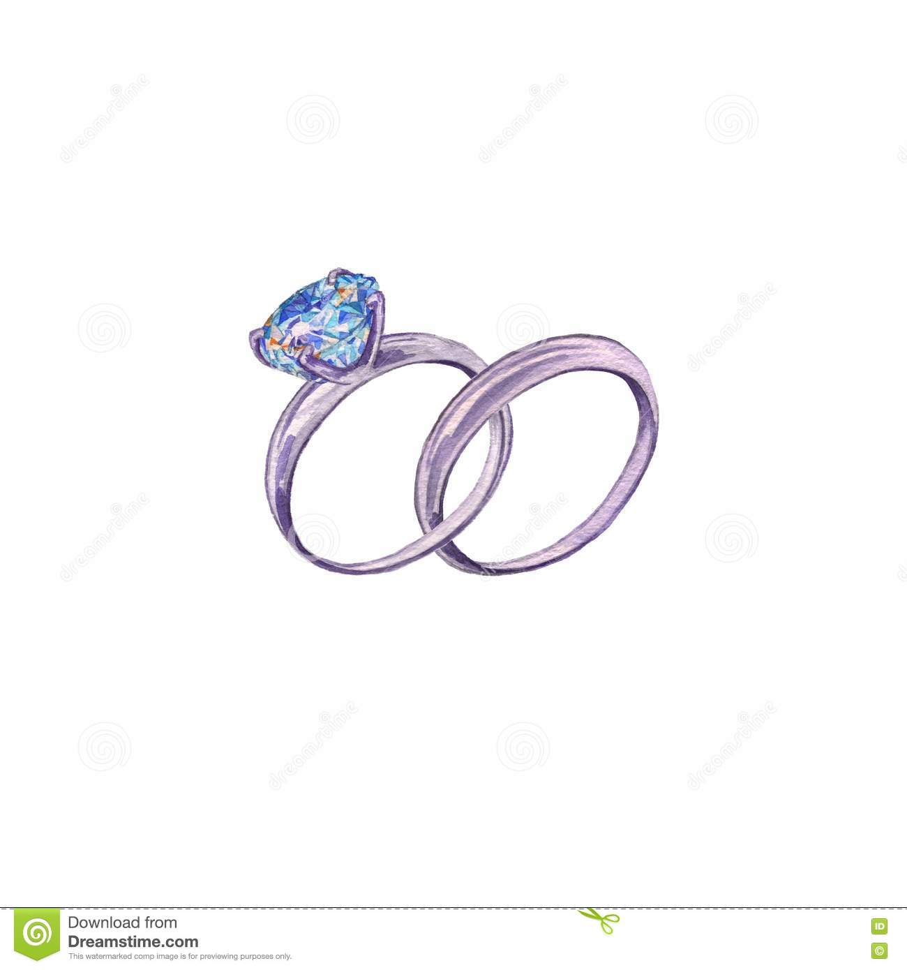 Engagement Ring With Diamond. Watercolor Painting. Stock