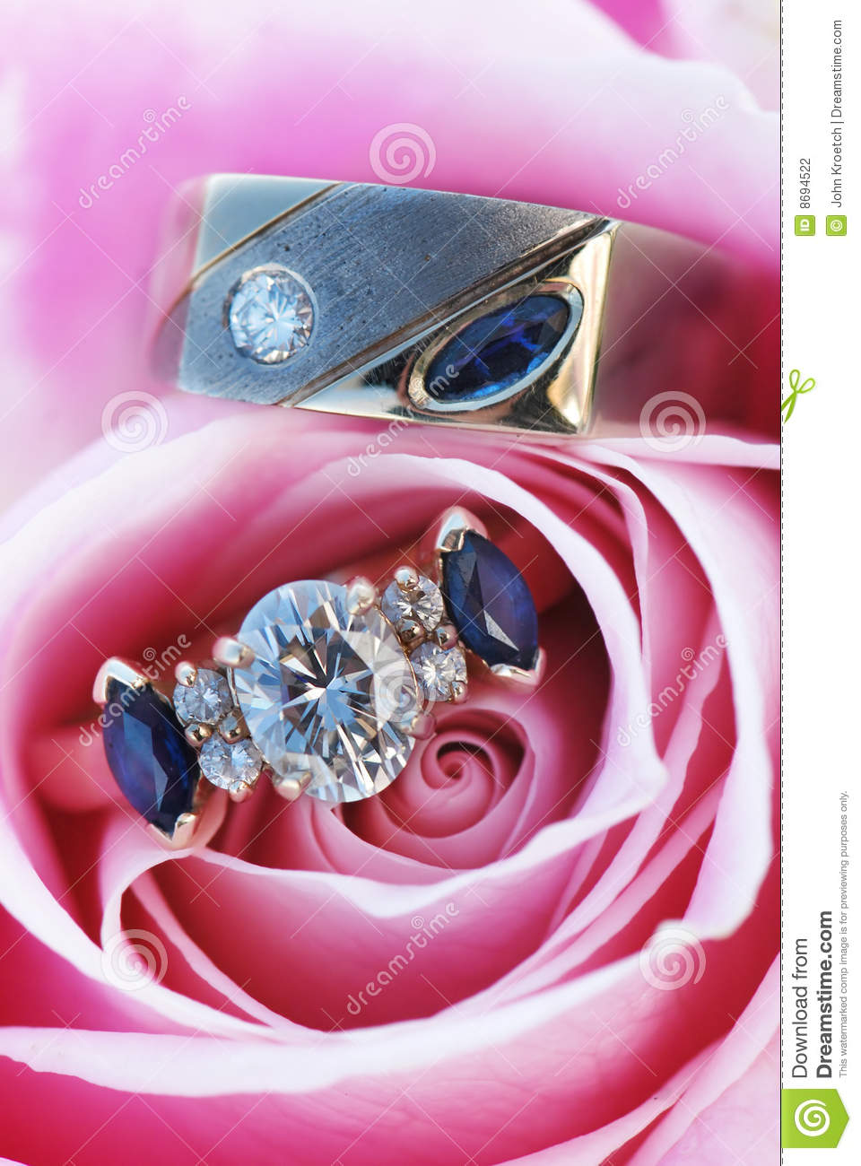 Engagement Rings in Rose stock photo. Image of pink, diamond - 8694522