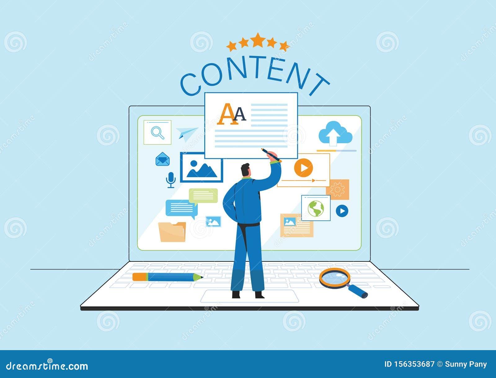 Engaging Content, Blogging, Blogger. Freelance. Marketing content. Creative writing. Copy writer. Content management. Flat cartoon