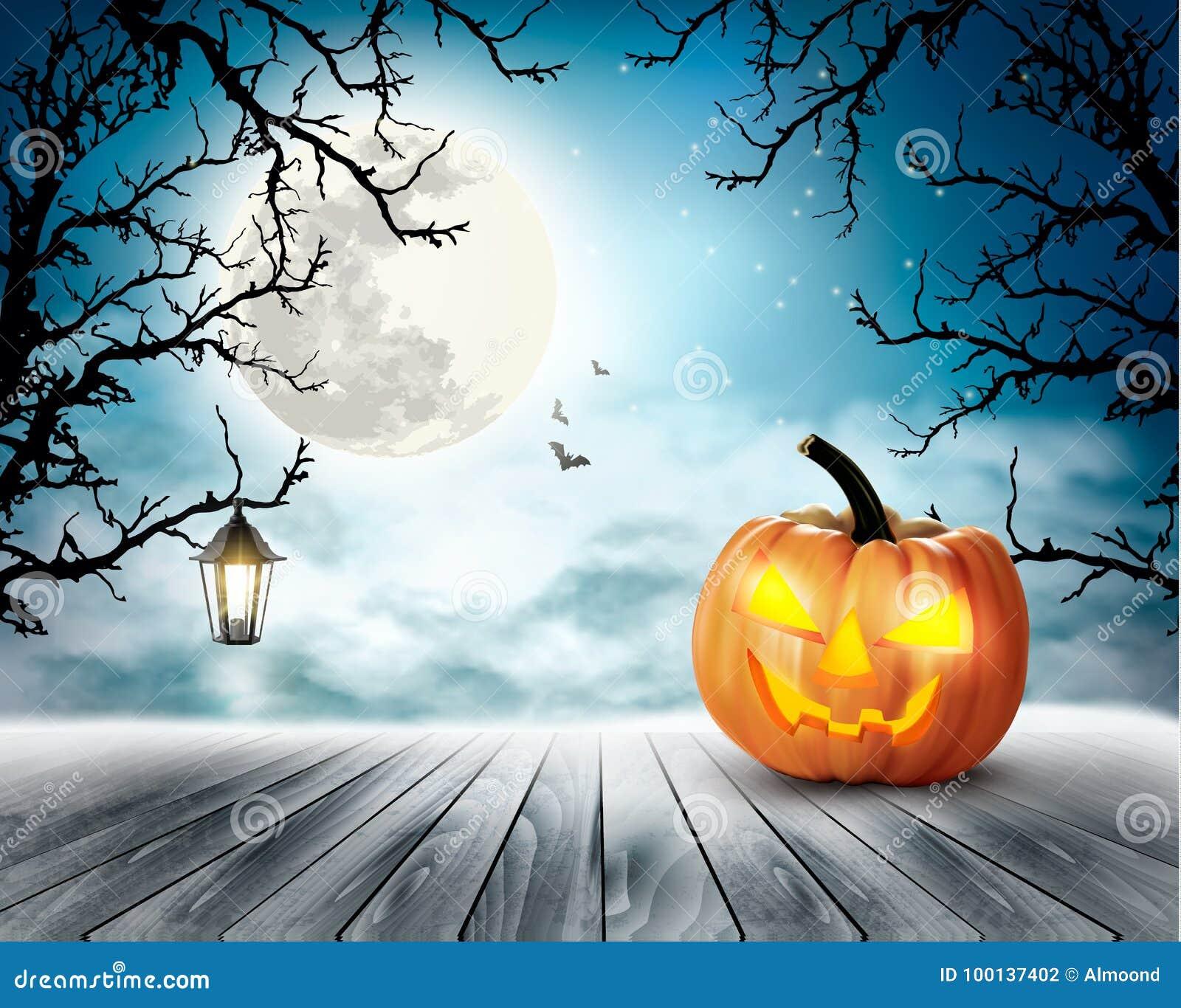 Pompoen En Halloween.Enge Halloween Achtergrond Met Pompoen En Maan Vector