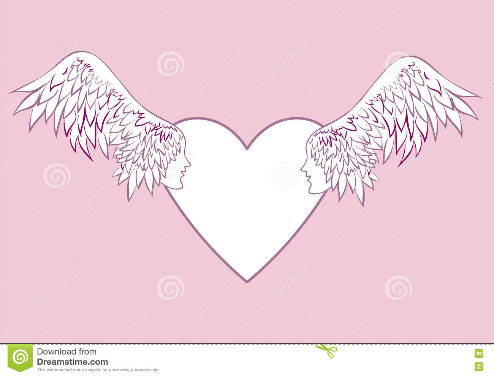 Engel Beflügelt Mit Einem Menschlichen Gesicht Im Rahmen In Form ...