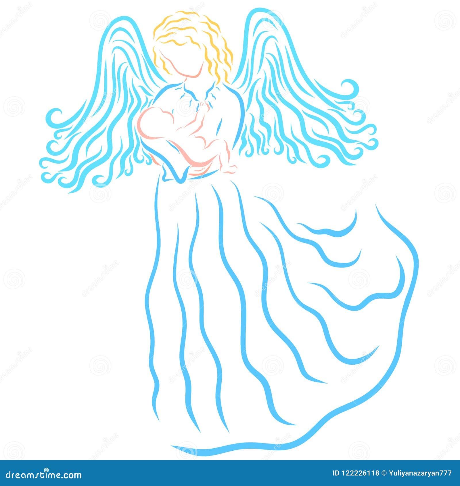 Engel of gevleugelde vrouw met een pasgeboren baby in haar wapens