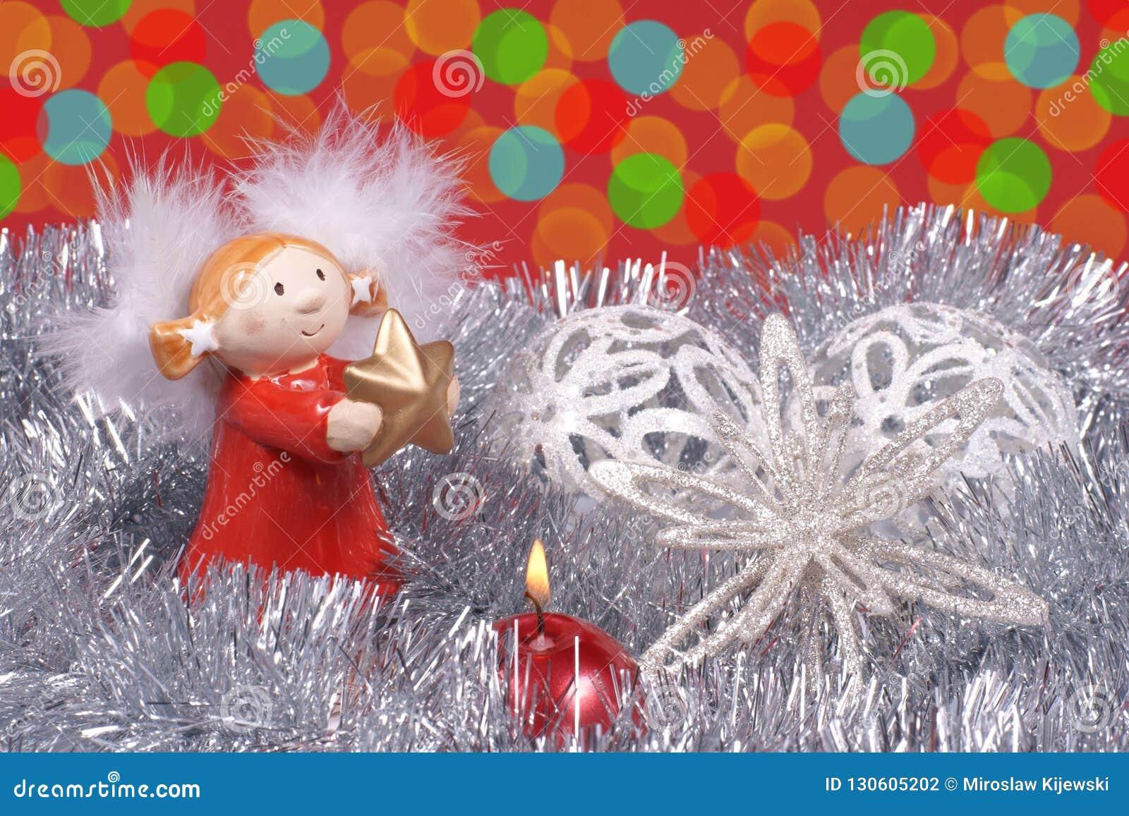 Engel, Kerstboomdecoratie, en kleurrijke gloed van licht
