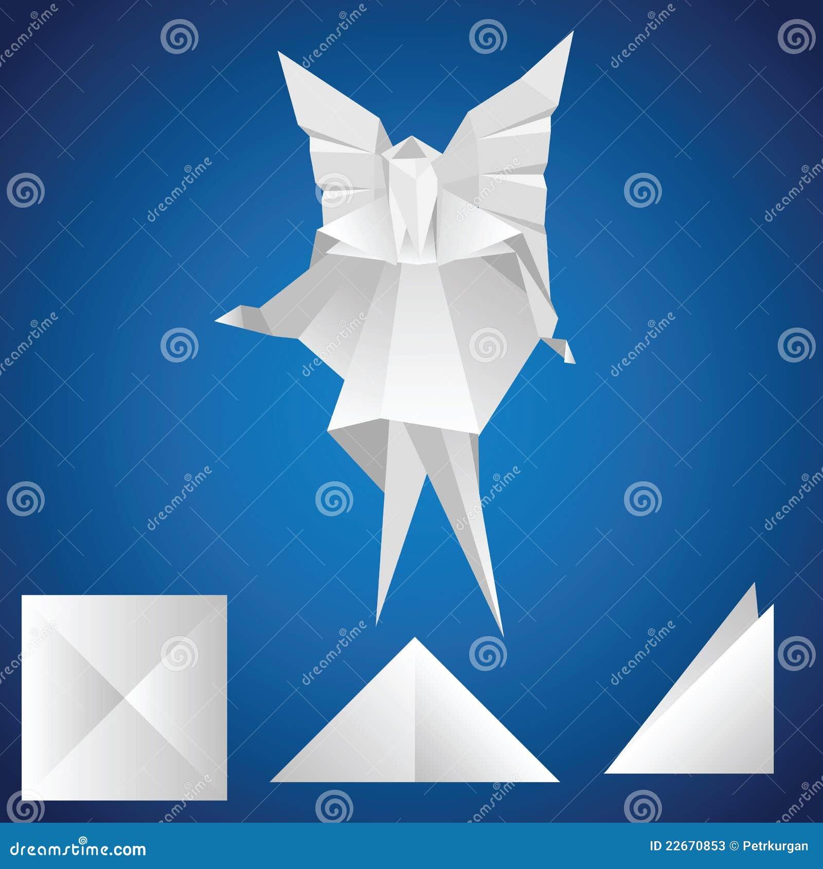 engel origami vector illustratie afbeelding bestaande. Black Bedroom Furniture Sets. Home Design Ideas