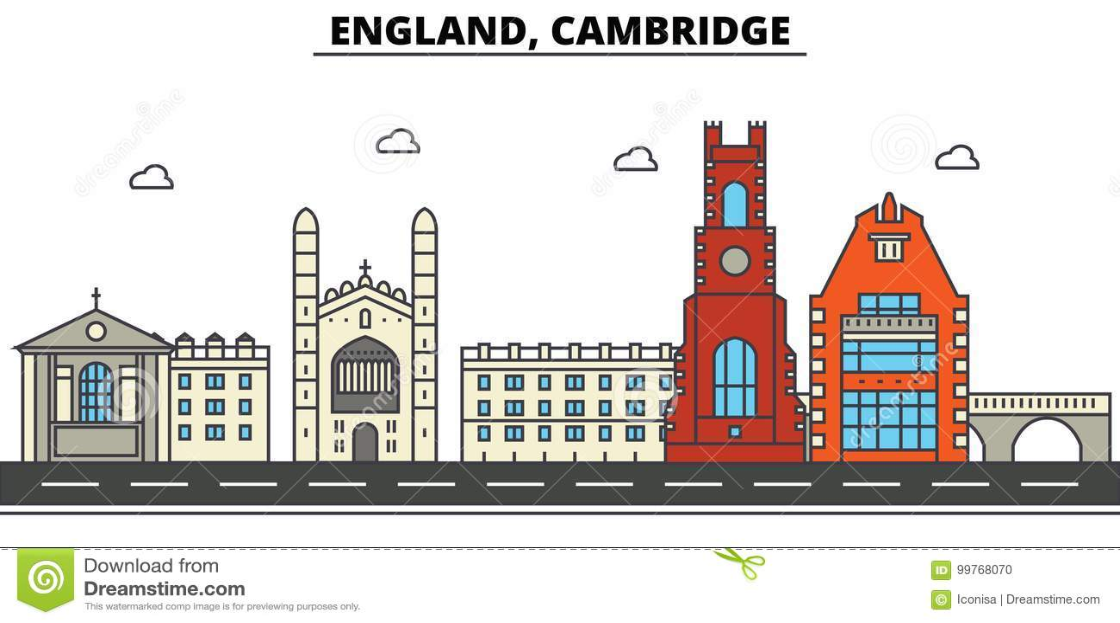 Engeland, Cambridge De architectuur Editable van de stadshorizon