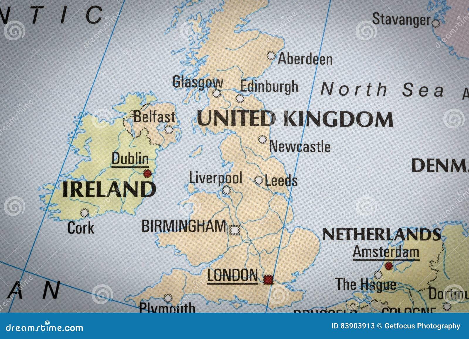 Engeland In Dichte Omhooggaand Op De Kaart Stock Afbeelding