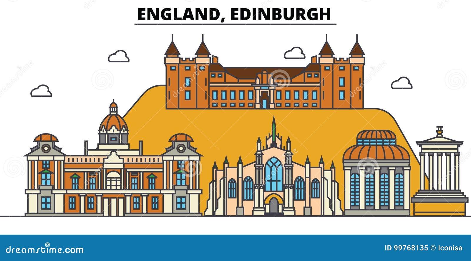 Engeland, Edinburgh De architectuur Editable van de stadshorizon