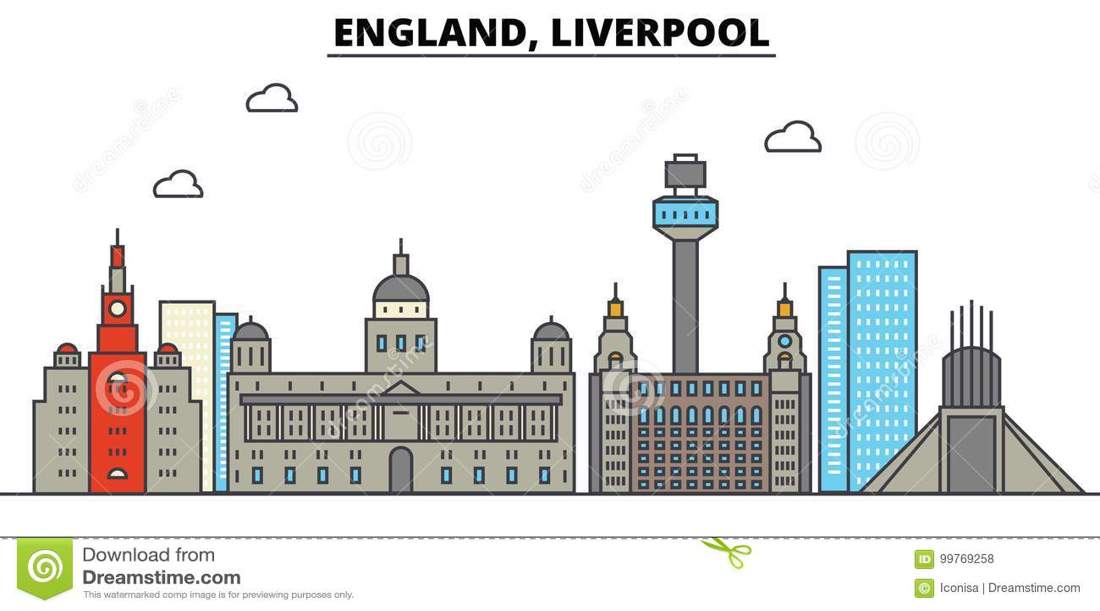 Engeland, Liverpool De architectuur van de stadshorizon editable