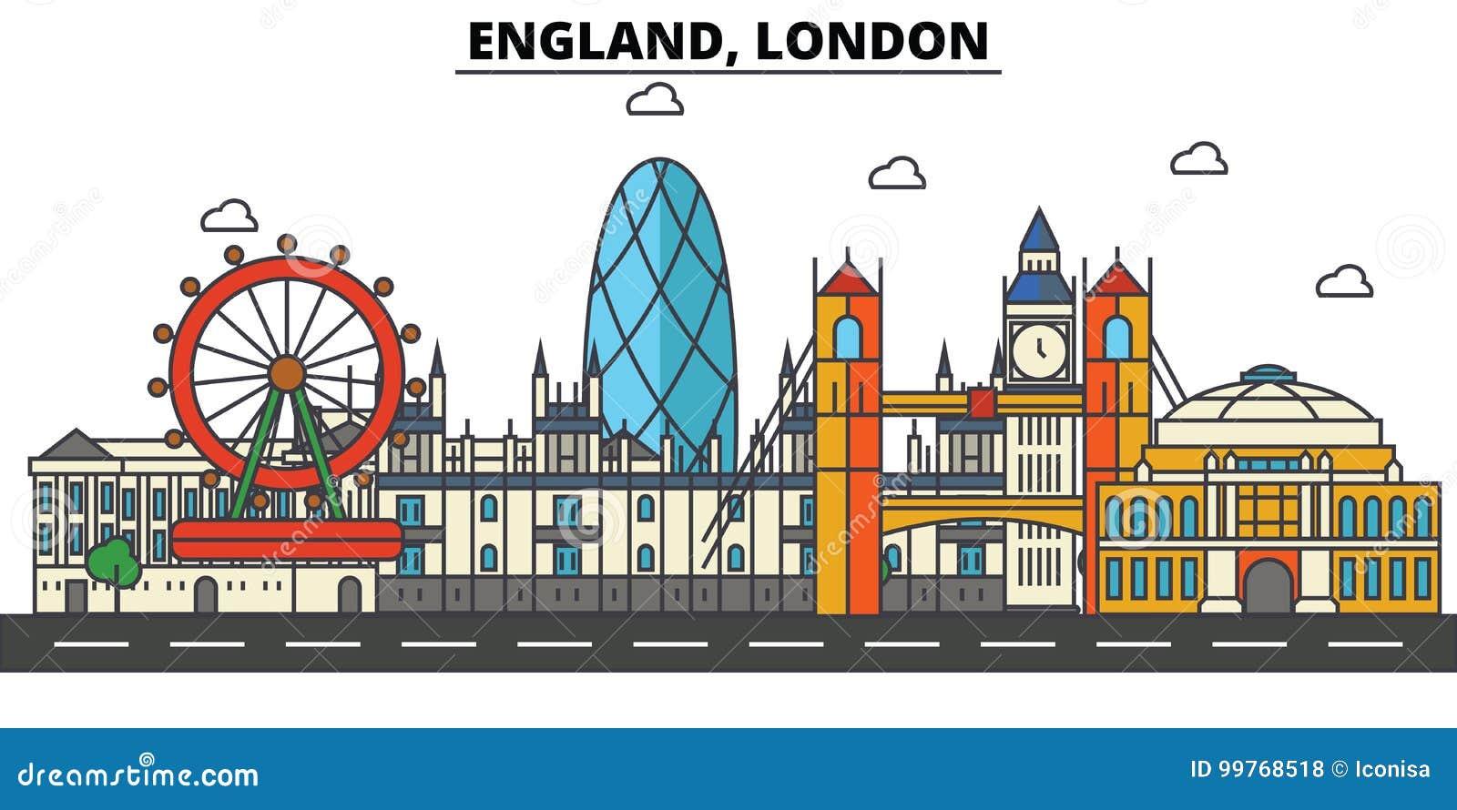 Engeland, Londen? Één van de muur van kasteel Windsor De architectuur van de stadshorizon editable