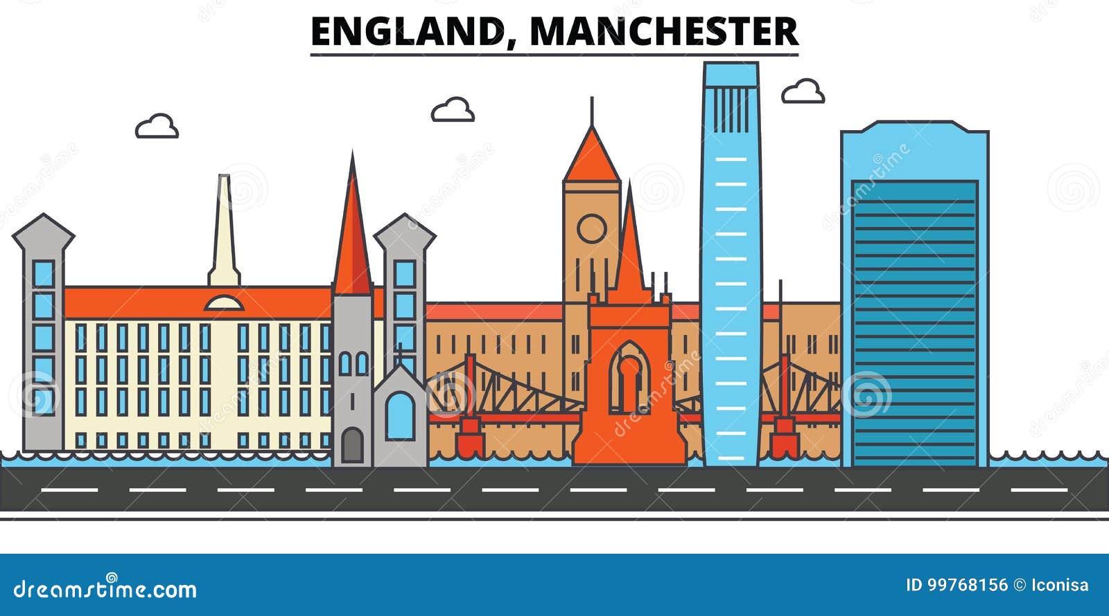Engeland, Manchester De architectuur Editable van de stadshorizon