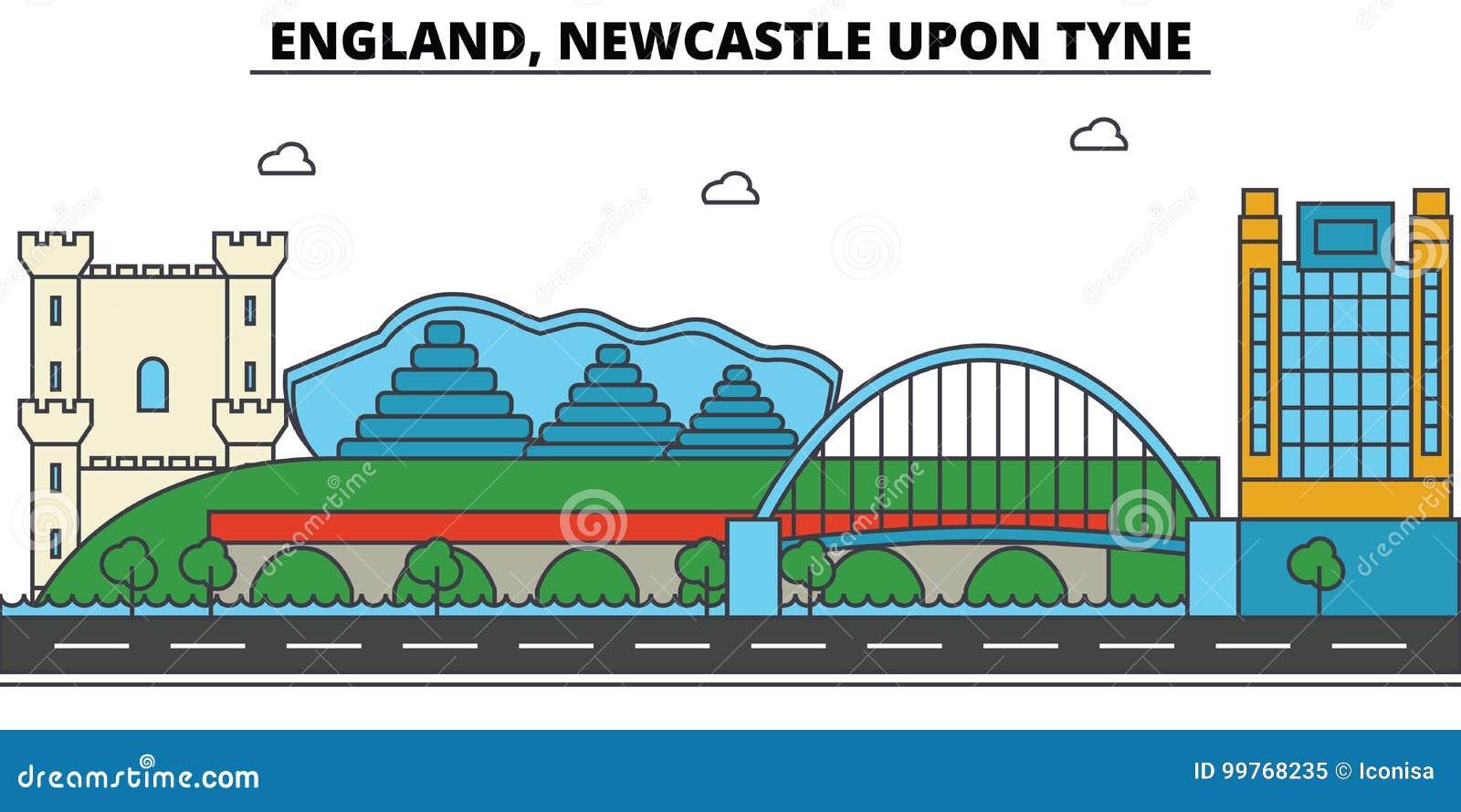 Engeland, Newcastle op de Tyne De architectuur van de stadshorizon