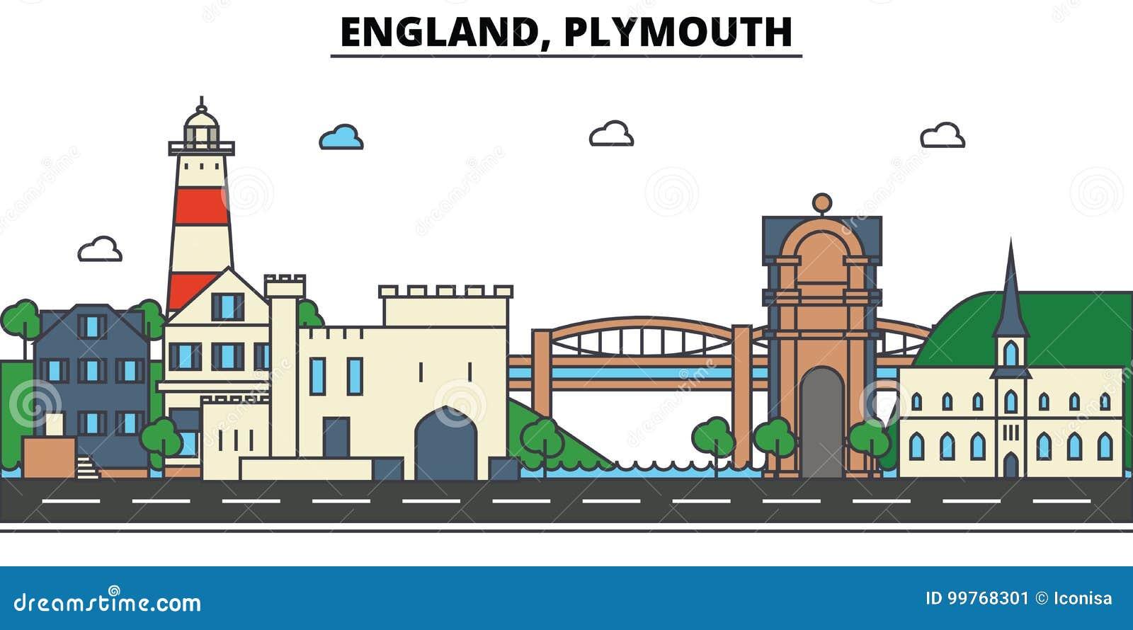 Engeland, Plymouth De architectuur van de stadshorizon editable