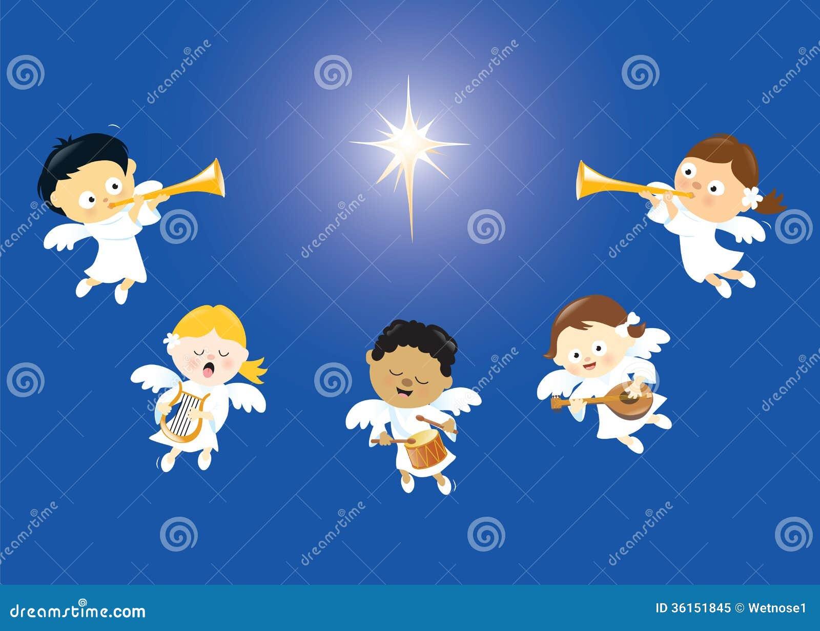 Engelen die en instrumenten zingen spelen