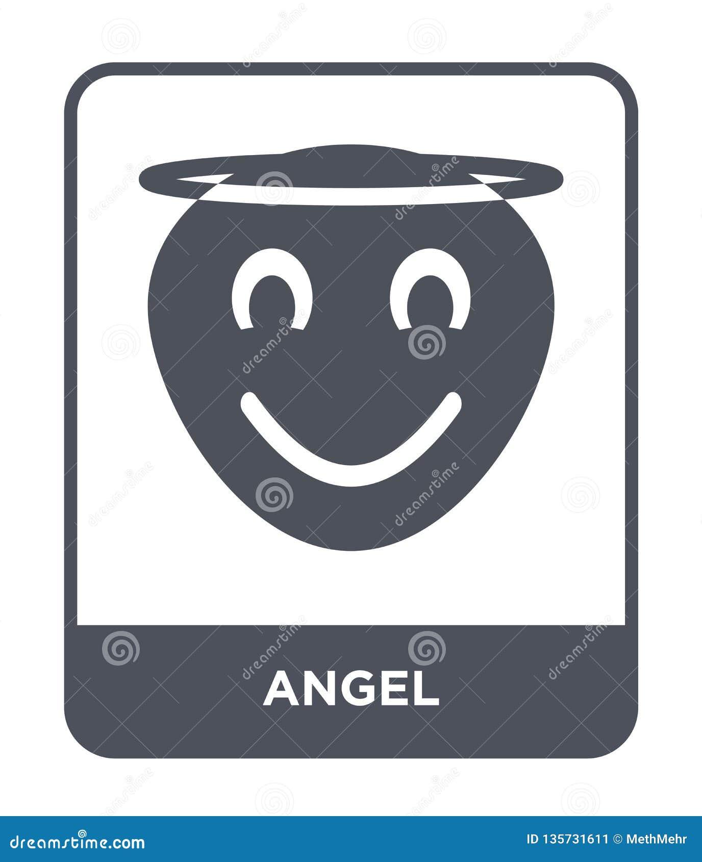 Engelenpictogram in in ontwerpstijl Engelenpictogram op witte achtergrond wordt geïsoleerd die eenvoudige en moderne vlakke symbo
