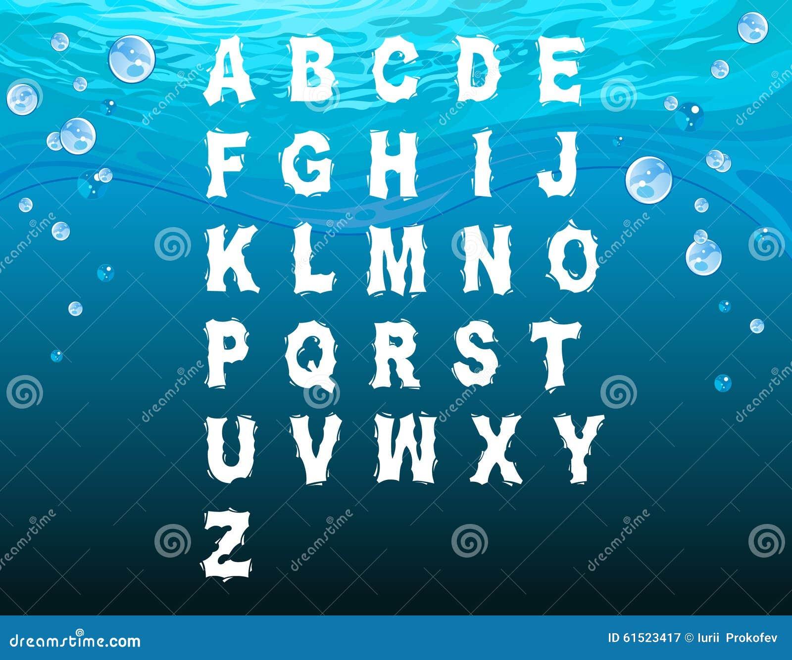 Engels alfabet in de onderwaterstijl