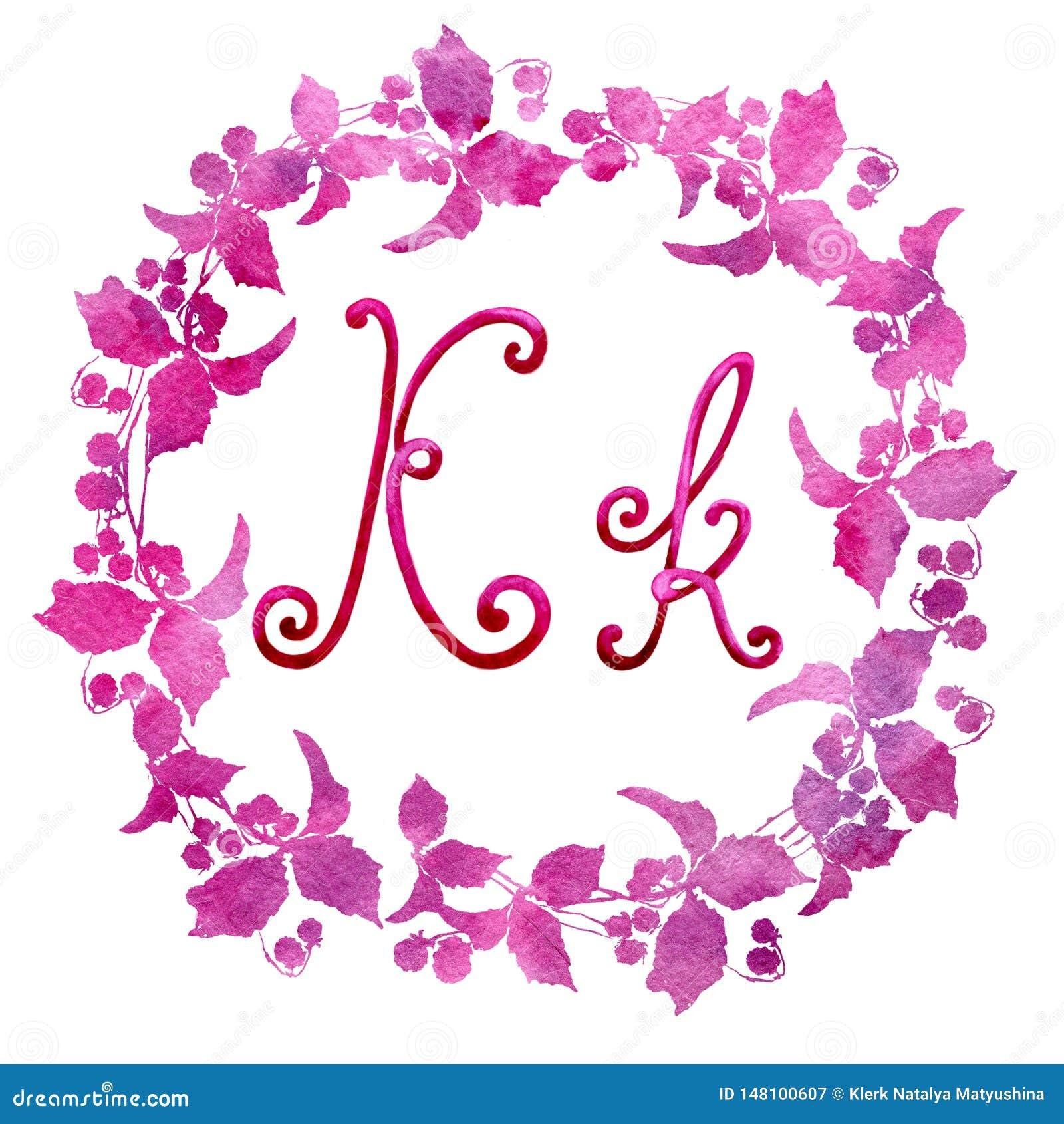 Engelse die alfabetbrief K, op een witte achtergrond, in een elegant met de hand geschreven kader wordt geïsoleerd, De tekening v